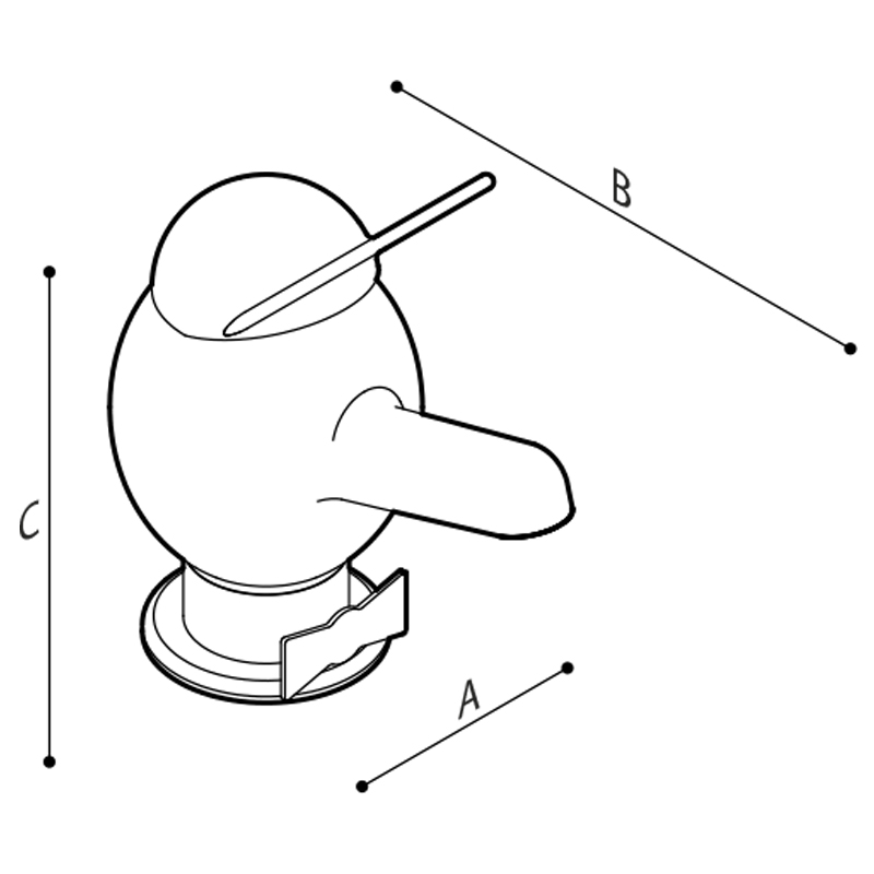 Draw Pinocchio shape head mixer tap  Technical Drawing H51GBW01